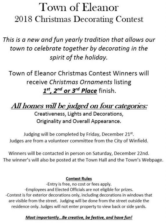 2018 Eleanor Christmas Decorating Contest – Town of Eleanor